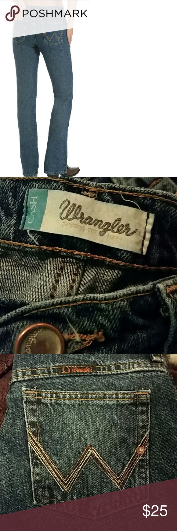 Wrangler Cash Jeans Ladies Wrangler Cash Jeans size 3/4 with 34 inch inseam have only been worn once and in excellent condition. I bought them online, they're just too small for me. They're very durable and look great :) Don't hesitate to offer, I'm cleaning out my jean drawer and these have to go! I'll be reasonable with offers. Wrangler Jeans Boot Cut