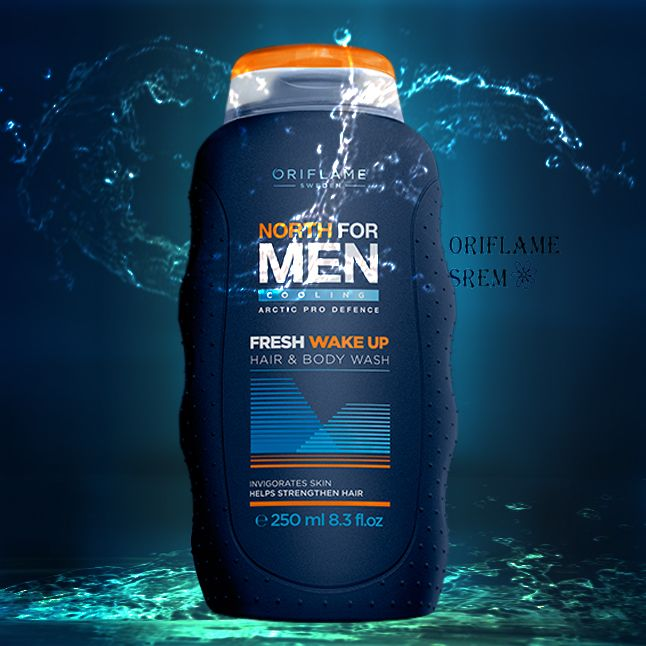 31108-North For Men Fresh Wake Up kupka za kosu i telo.Okrepljujuća 2-u-1 kupka za kosu i telo,čisti i osvežava.Sadrži Pantenol koji ojačava kosu i sprečava isušivanje kože glave,kao i mentol koji svakog jutra daje energiju.250ml.