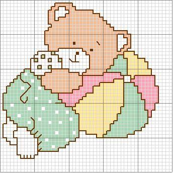 Schema punto croce Orsetto-con-palla