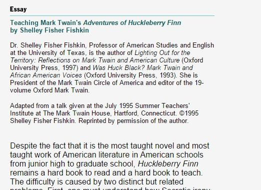 the adventures of huckleberry finn 7 essay Free essay: research paper on twain's adventures of huckleberry finn mark twain's adventures of huckleberry finn is a novel about a young boy's coming of age.