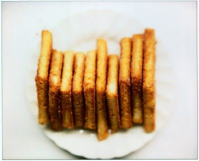 Use for stale bread. Crunchy cinnamon toasts that keep on the counter. Think cinnamoney cookie/croutons. Nice idea for party snacks.