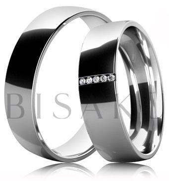 B30 Snubní prsteny z bílého zlata celé v lesklém provedení. Dámský prsten zdobený kameny. #bisaku #wedding #rings #engagement #svatba #snubni #prsteny