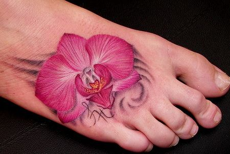 Orchid tattoo... gorgeous detail!