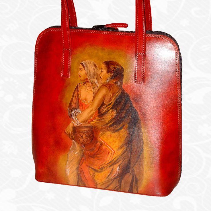 Motív: Edwin Lord Weeks – The nautch girl  Originálna ručne maľovaná kožená kabelka. Existuje len jeden kus. Každý jeden kus ručne maľovaných výrobkov je umelecké dielo. Kabelka je neopakovateľný originál s nádhernou maľbou.http://www.vegalm.sk/