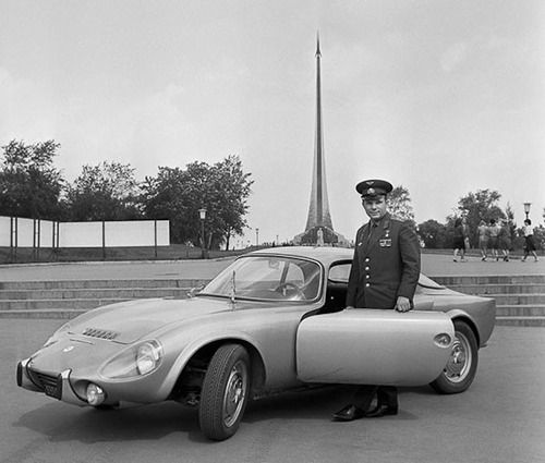 Yuri Gagarin and his Matra-Bonnet Jet near the Monument to the Conquerors of Space (1965)