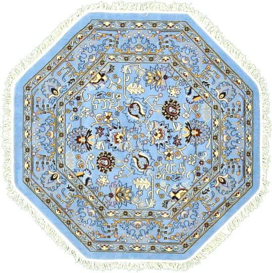 4' 11 x 4' 11 Blue Tabriz Reproduction Area Rugs