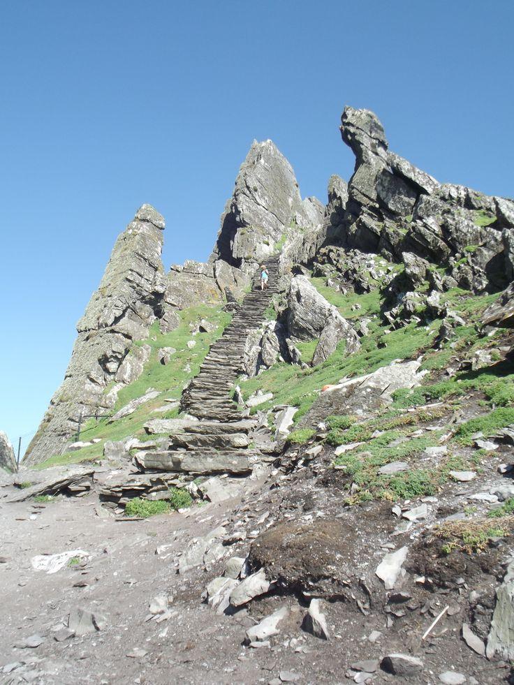 Some of the 600 steps on Skellig Michael in Kerry Ireland