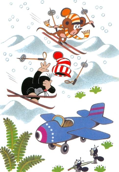 Zdenek Miler, little mole ski motif.