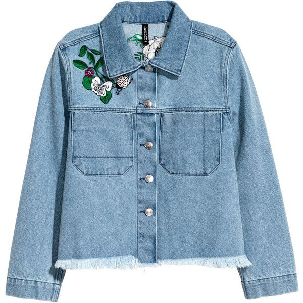 Embroidered Denim Jacket $49.99 ($50) ❤ liked on Polyvore featuring outerwear, jackets, abrigos, coats, denim, short denim jacket, collar jacket, jean jacket, blue denim jacket and short jean jackets