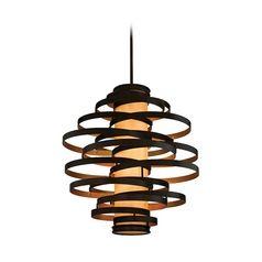 Modern Pendant Light in Bronze / Gold Leaf Finish