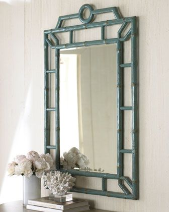 "Chinoiserie - Turquoise ""Bamboo"" Mirror - Horchow"
