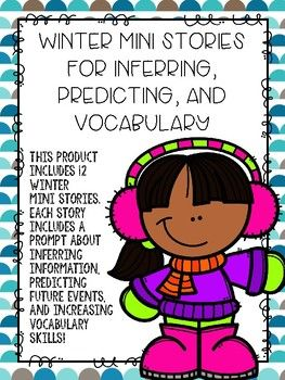 INFERRING, PREDICTING, VOCAB!  This product includes 12 seasonal mini stories. Each story includes one inferring prompt, one predicting prompt, and one vocabulary question.