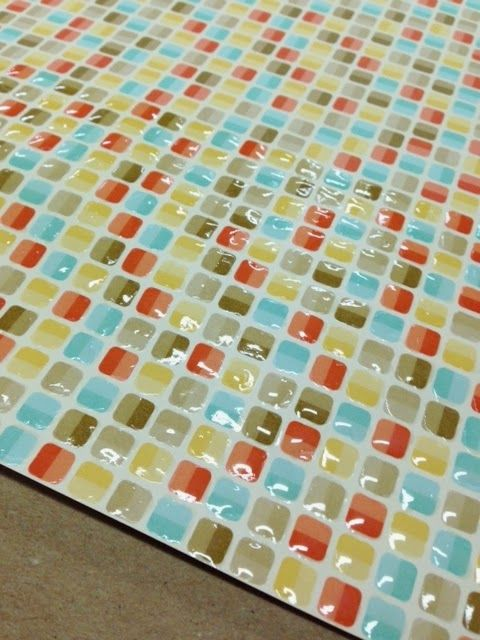Creatively Gemini - Check out this super simple technique for making your own Retro Fresh Kitchen Tile Style using Stampin' UP! DSP and Crystal Effects