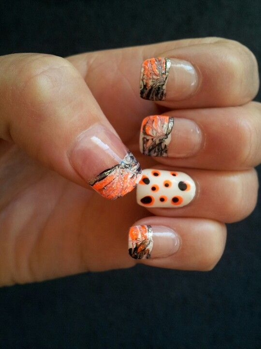 French tip camo nail design! No dots, maybe that nail be all camo