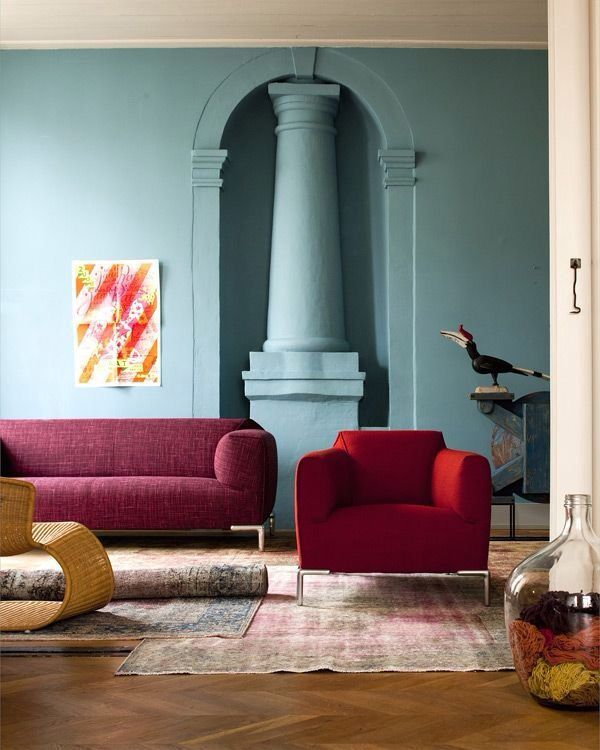 Burgundy Couch With Blue Walls Pantone Color Of The Year 2015