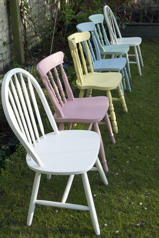 Shabby Chic Mismatched Vintage Dining Chairs Set Emily