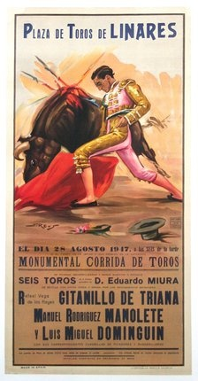 """Poster advertisement for the Bullfight, at Plaza de Toros de Linares featuring the most famous Matador of the day, Manolete. It was that day in that arena that Manuel Rodriguez Sanchez """"Manolete"""" would meet his death at age of 30."""
