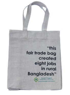 The impact of a fair trade spelled out on a simple bag. Made according to the principles of Fair Trade by the Azadi Project. #fashiontakesaction