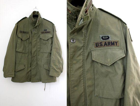 Punk Army Jacket- Vintage Camo Coat - Camouflage Military with patches - Khaki jacket-US -Pockets Warm Weather Surplus xo7Wlm7b