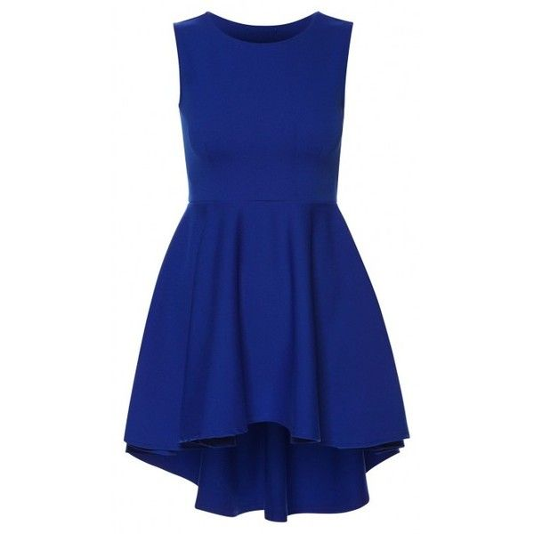 Linda Royal Blue Asymmetric High Low Wide Flared Sleeveless Skater... ($1.45) ❤ liked on Polyvore featuring dresses, blue skater dress, sleeveless skater dress, electric blue dress, hi low dress and blue party dress