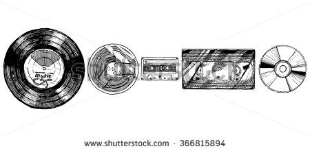 Vector hand drawn sketch of media evolution set in ink hand drawn style. Vinyl record, tape reel, compact tape cassette, VHS and CD. isolated on white.