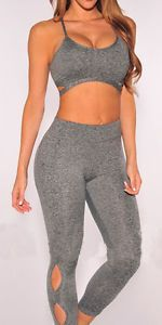 New Women Fitness Tops Pants Outfit Tracksuit Sport Suit Running Yoga Sweat
