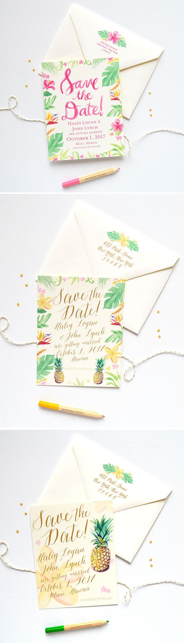 Fun and flirty! Tropical Hawaiian Save The Date Cards complete with pineapples and plumeria flowers. Perfect for a destination wedding!! - www.mospensstudio.com