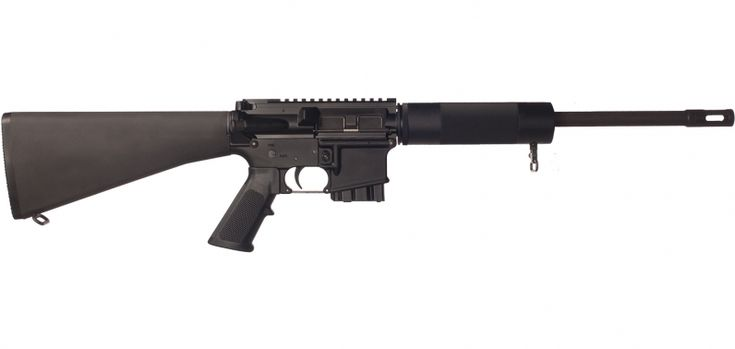 """450 Bushmaster caliber 16"""" barrel carbine with 1 in 24"""" twist Upper and lower receivers machined from a Mil-Spec aluminum forging Free-floating, vented aluminum fore-end Includes 5-round single stack magazine"""