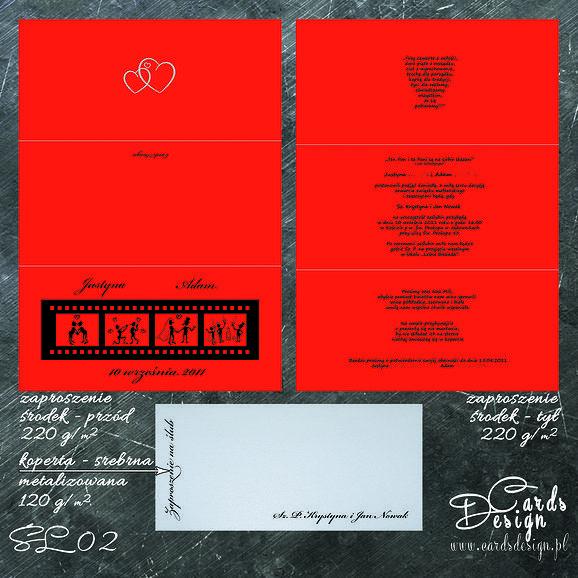 Projekt zaproszenia w kolorze czerwonym - Red Wedding www.cardsdesign.pl