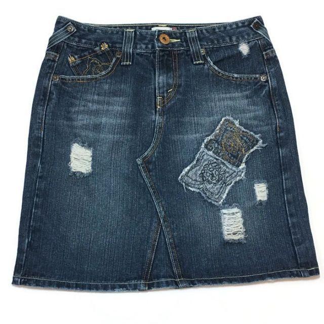 Levi's Denim Skirt 3 Patches Ripped Hippie Boho 29W 18L Above Knee Blue Jean    eBay