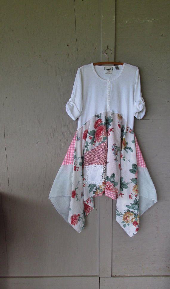 Romantic Bohemian dress tunic/Eco upcycled by lillienoradrygoods, $82.50