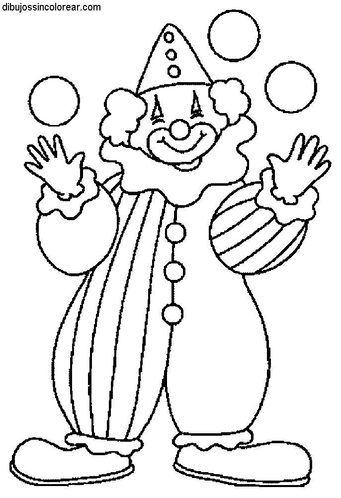Dibujos Sin Colorear: Dibujos de Payasos del Circo para Colorear