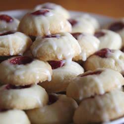 Raspberry and Almond Shortbread Thumbprints Allrecipes.comDesserts, Thumbprint Cookies, Almond Shortbread, Shortbread Thumbprint, Shortbread Cookies, Cookies Recipe, Food Recipe, Raspberries, The Holiday
