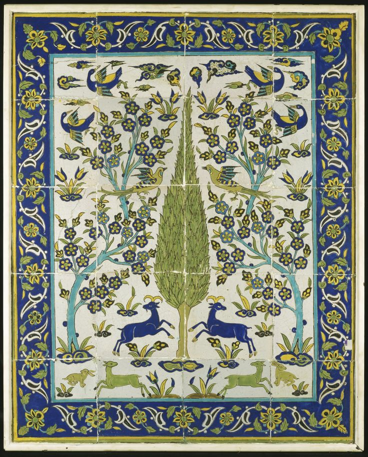 A Safavid Cuerda Seca Tile Panel, Persia, 18th Century