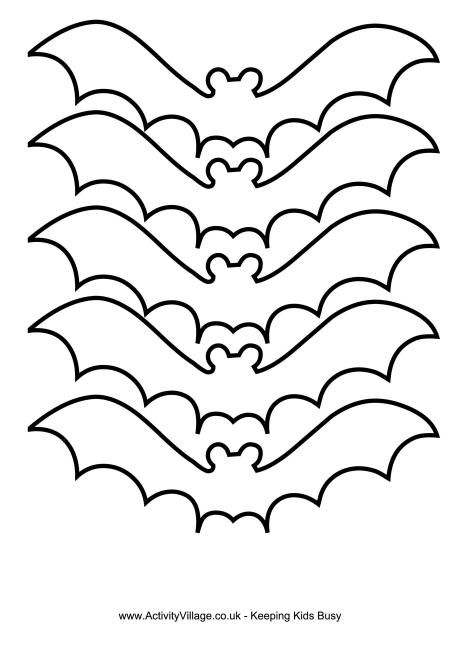 this bat template could be printed on to card and the bats cut out and decorated to make bookmarks - Halloween Decoration Templates