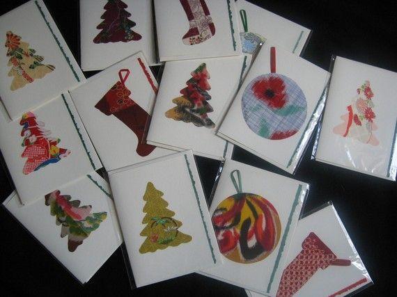 Kimono silk Japanese Christmas greeting cards  set by KIMONOCARDS, $30.00