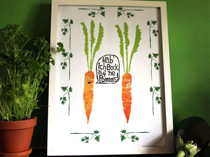 Poster Din A4- Möhren und Pommes von hebbedinge auf DaWanda.com