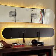 Lighted snowboard wall mount- diy with our old boards.