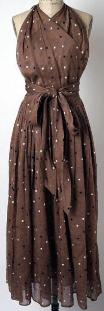 Claire McCardell - Robe 'Tour de Cou' - Brun à Pois - 1948