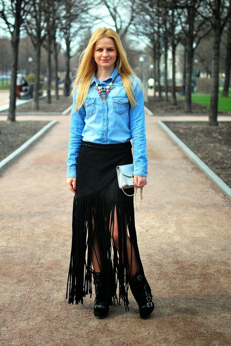 Fringe skirt H&M - #streetstyle- Irina Pavlova