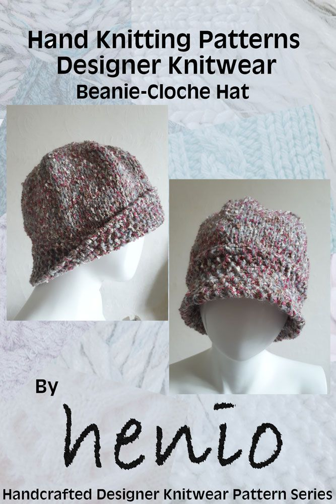 Knitting Patterns Modern Beanie Cloche Hat Hand Knitting Pattern
