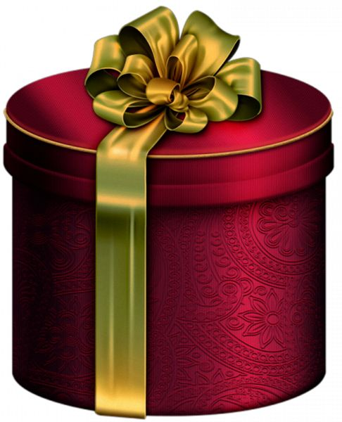 Red Round Present Box with Gold Bow Clipart
