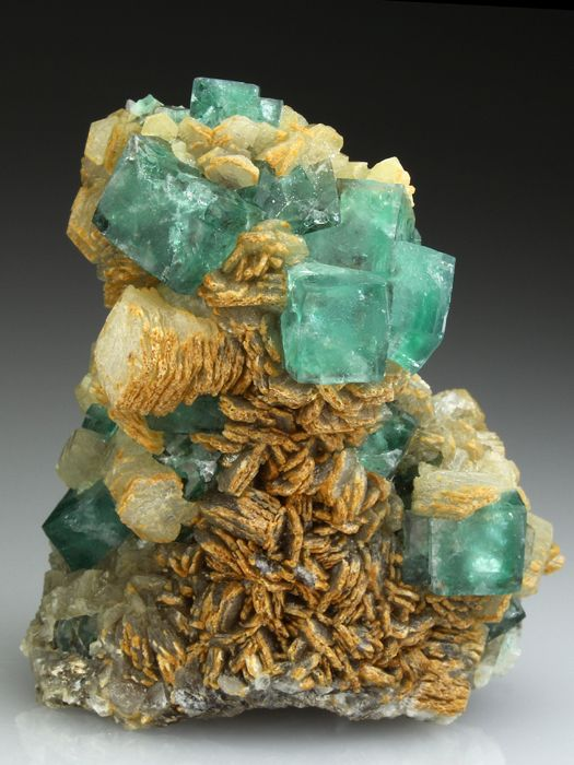 FLUORITE with CALCITE Minerals from Heights Mine, Weardale, Co Durham, England, Europe at Crystal Classics