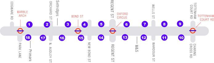 All the shops on Oxford Street, London