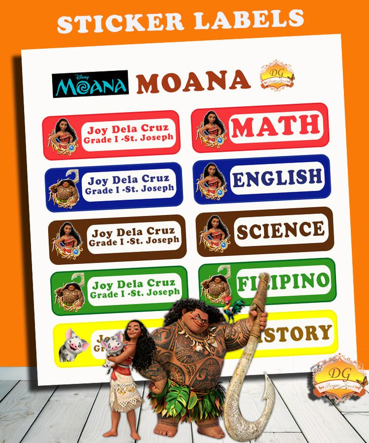 MOANA STICKER LABELS :) BACK TO SCHOOL!! :)   Organize your child's school supplies such as books and notebooks with stickers! Put your child's name and school/ class section. Customize ANY CHARACTER and ANY COLOR! <3     Send us a message on facebook DG Precious Touch for your inquiries :)