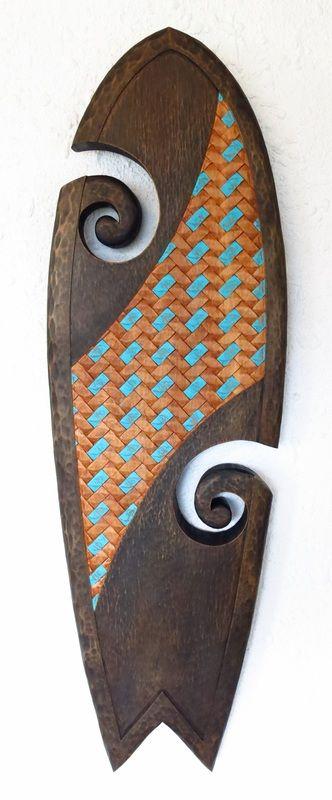 TANGAROA SURFBOARD - By JAMES H. ATUTAHI #jameshenryatutahi #NZartist #majubagallery #hanmersprings #woodcarving
