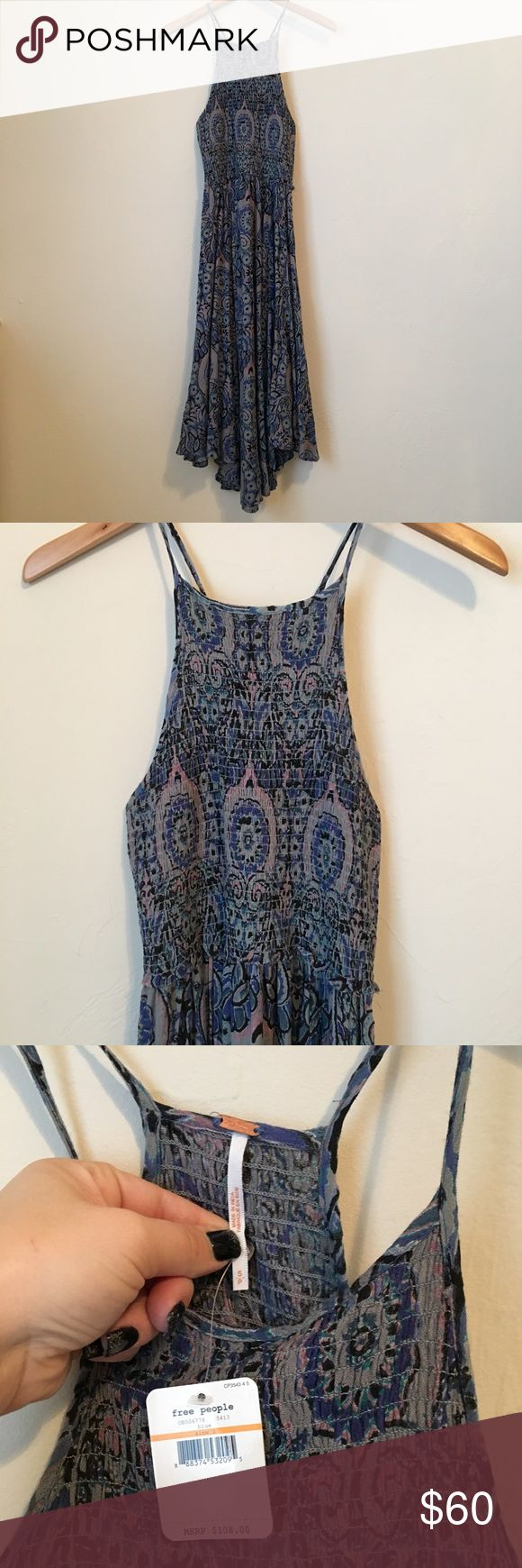 NWT Free People Maxi Dress Tight fitting bodice with Flowy skirt with dark pattern and handkerchief hemline. NEW WITH TAGS Free People Dresses