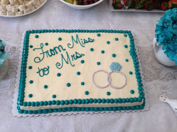 From Miss to Mrs. teal bridal shower cake