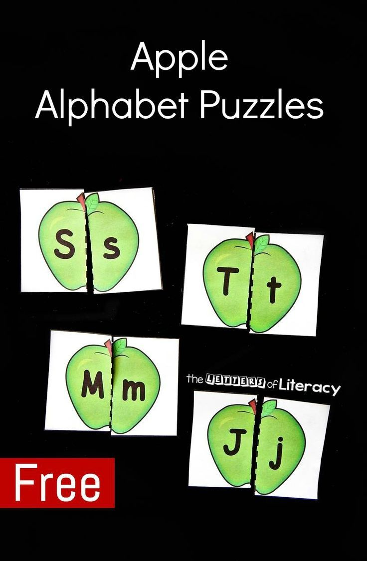 These apple alphabet puzzles are a great literacy center for preschoolers or…
