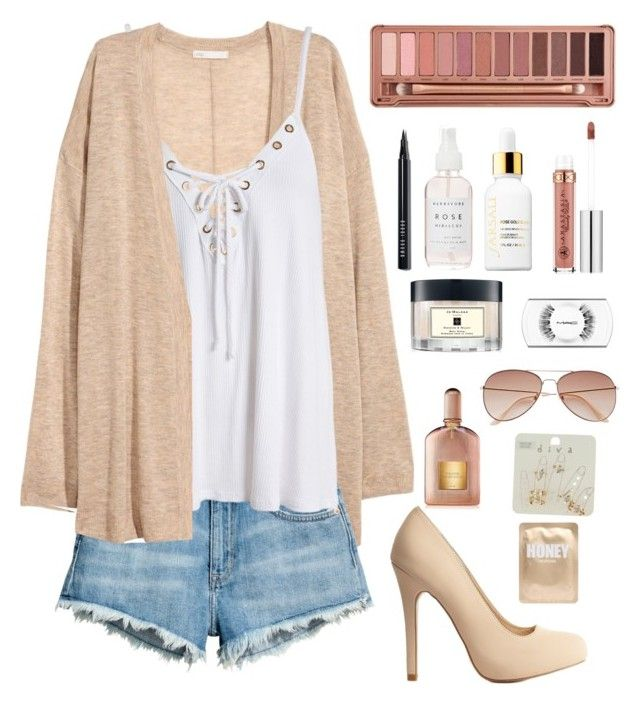 """Naked Honey"" by giota-pol ❤ liked on Polyvore featuring Charlotte Russe, H&M, Sans Souci, Urban Decay, Miss Selfridge, Tom Ford, Lapcos, Sephora Collection, Anastasia Beverly Hills and Jo Malone"